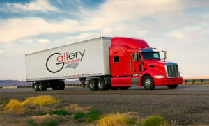 Red Gallery Furniture Delivery Truck